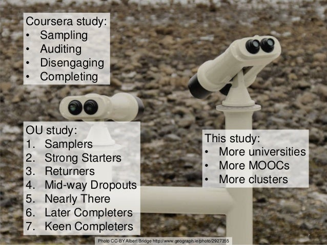 7 Coursera study: • Sampling • Auditing • Disengaging • Completing Photo CC-BY Albert Bridge http://www.geograph.ie/photo/...