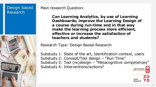 Design based Research Main research Question: Can Learning Analytics, by use of Learning Dashboards, improve the Learning ...