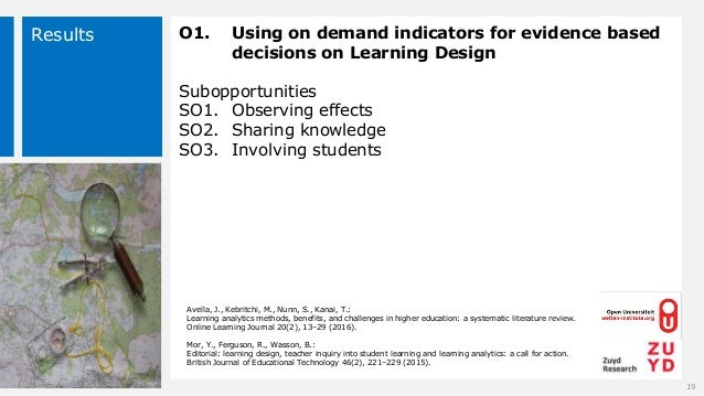 Results O1. Using on demand indicators for evidence based decisions on Learning Design Subopportunities SO1. Observing eff...