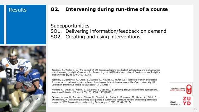 Results O2. Intervening during run-time of a course Subopportunities SO1. Delivering information/feedback on demand SO2. C...