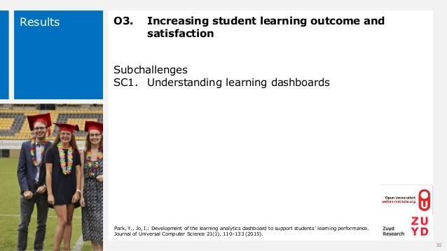 Results O3. Increasing student learning outcome and satisfaction Subchallenges SC1. Understanding learning dashboards 30 P...