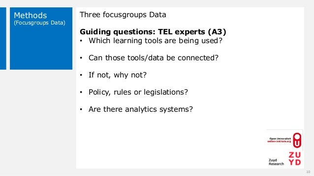 Methods (Focusgroups Data) Three focusgroups Data Guiding questions: TEL experts (A3) • Which learning tools are being use...
