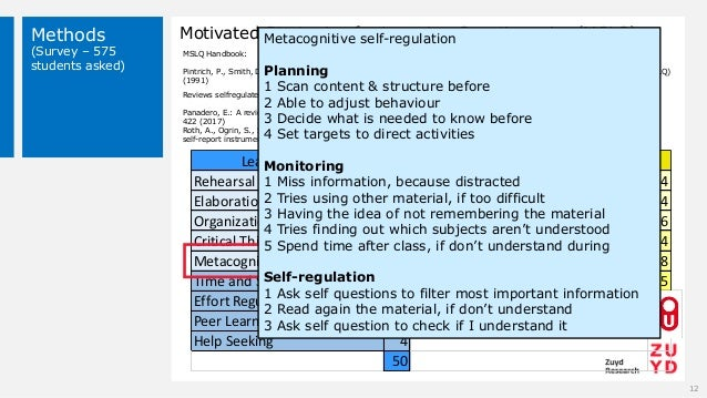 Methods (Survey – 575 students asked) Motivated Strategies for Learning Questionnaire (MSLQ) 12 Rehearsal 4 Intrinsic Goal...