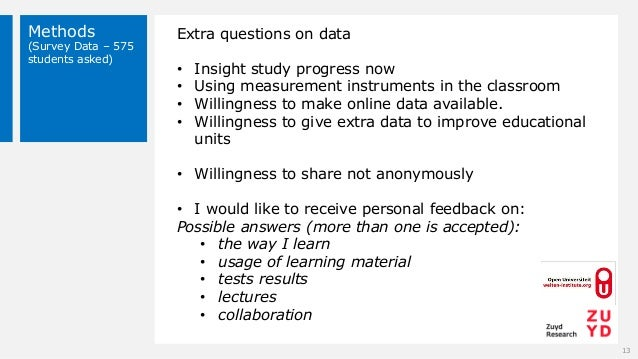 Methods (Survey Data – 575 students asked) 13 Extra questions on data • Insight study progress now • Using measurement ins...
