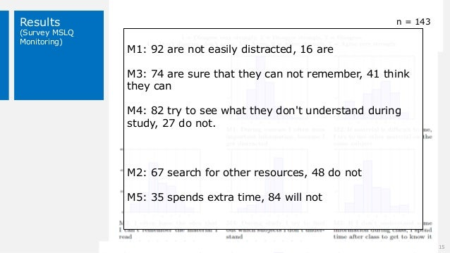 Results (Survey MSLQ Monitoring) 15 n = 143 M1: 92 are not easily distracted, 16 are M3: 74 are sure that they can not rem...