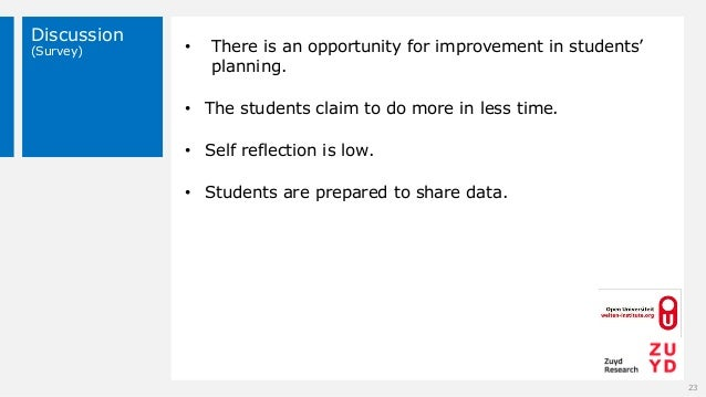 Discussion (Survey) 23 • There is an opportunity for improvement in students' planning. • The students claim to do more in...