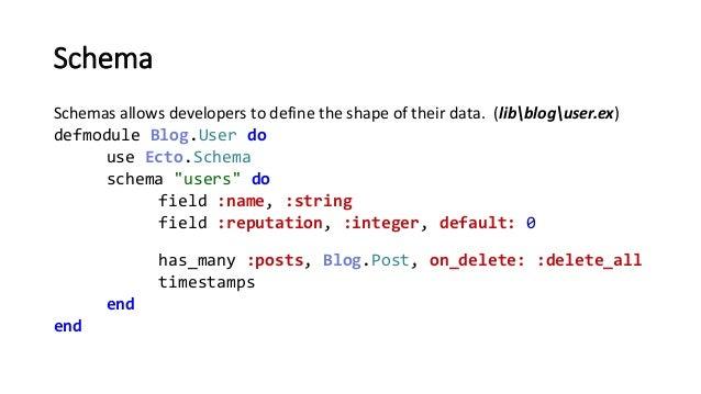 Schema Schemas allows developers to define the shape of their data. (libbloguser.ex) defmodule Blog.User do use Ecto.Schem...