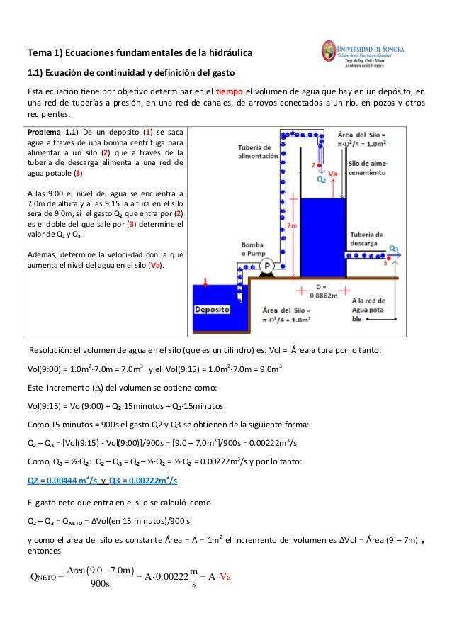 Tema 1) Ecuaciones fundamentales de la hidráulica1.1) Ecuación de continuidad y definición del gastoEsta ecuación tiene po...