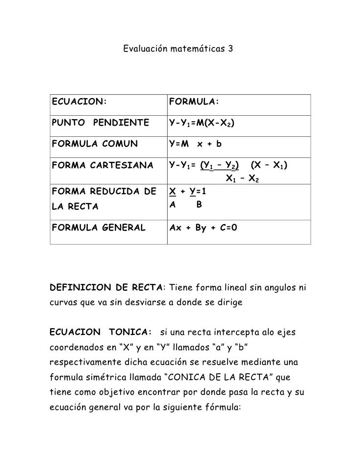 Evaluación matemáticas 3<br />ECUACION:FORMULA:PUNTO  PENDIENTEY-Y1=M(X-X2)FORMULA COMUNY=M  x + bFORMA CARTESIANAY-Y1= (Y...