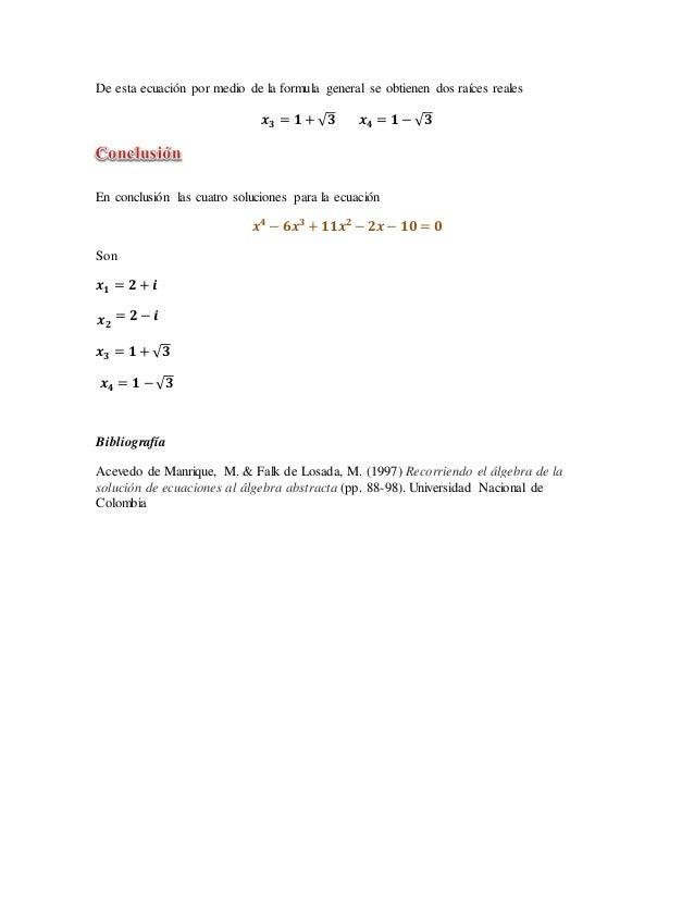 Ecuación de cuarto grado por el método de Luigi Ferrari