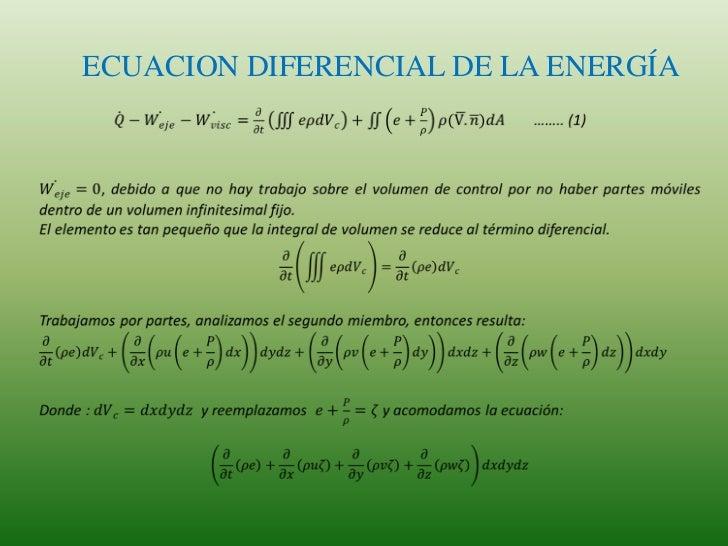 ECUACION DIFERENCIAL DE LA ENERGÍA<br />𝑄−𝑊𝑒𝑗𝑒−𝑊𝑣𝑖𝑠𝑐=𝜕𝜕𝑡𝑒𝜌𝑑𝑉𝑐+𝑒+𝑃𝜌𝜌(V.𝑛)𝑑𝐴…….. (1)<br /><br />𝑊𝑒𝑗𝑒=0, debido a que no hay...