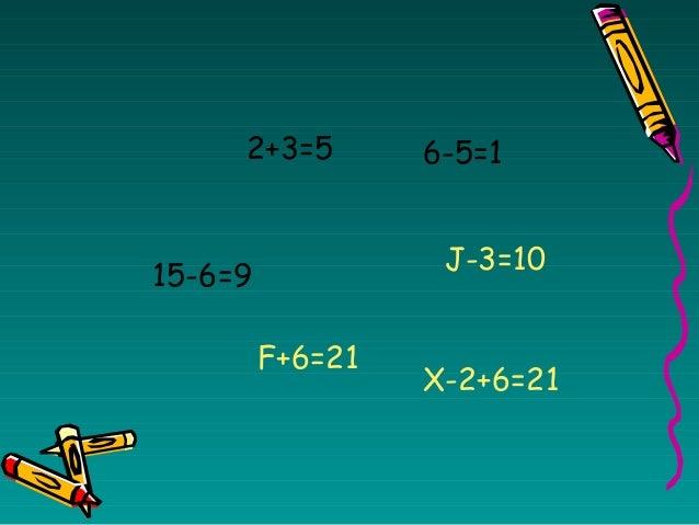 2+3=5 6-5=1 15-6=9 J-3=10 F+6=21 X-2+6=21