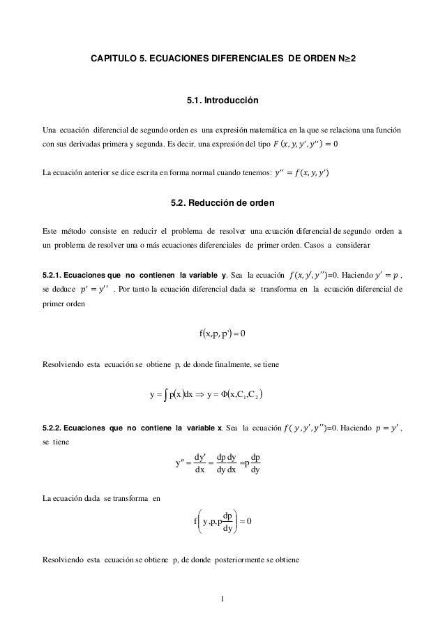CAPITULO 5. ECUACIONES DIFERENCIALES DE ORDEN N2                                           5.1. IntroducciónUna ecuación ...