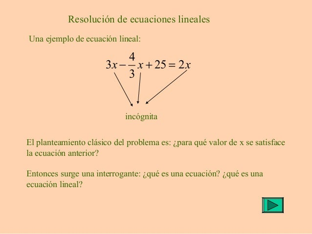 Resolución de ecuaciones lineales Una ejemplo de ecuación lineal: 4 3 25 2 3 x x x− + = incógnita El planteamiento clásico...