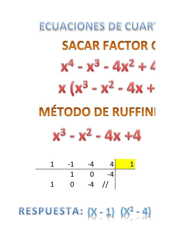 Ecuaciones de cuarto grado