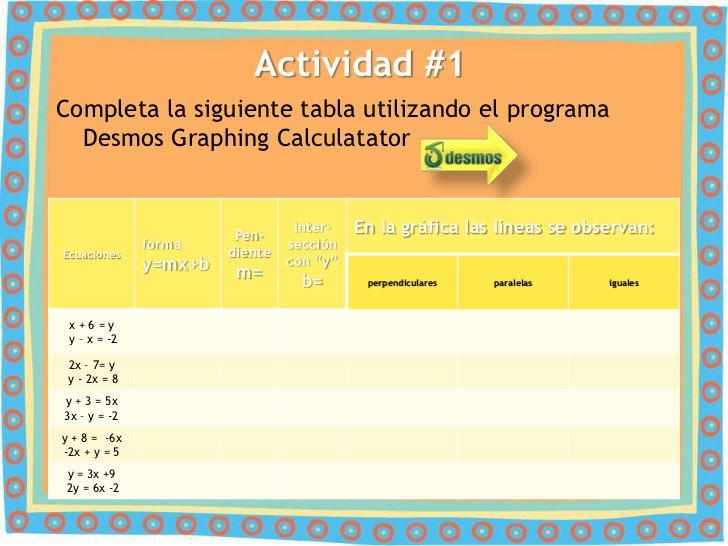 Actividad #1Completa la siguiente tabla utilizando el programa  Desmos Graphing Calculatator                        Pen-  ...
