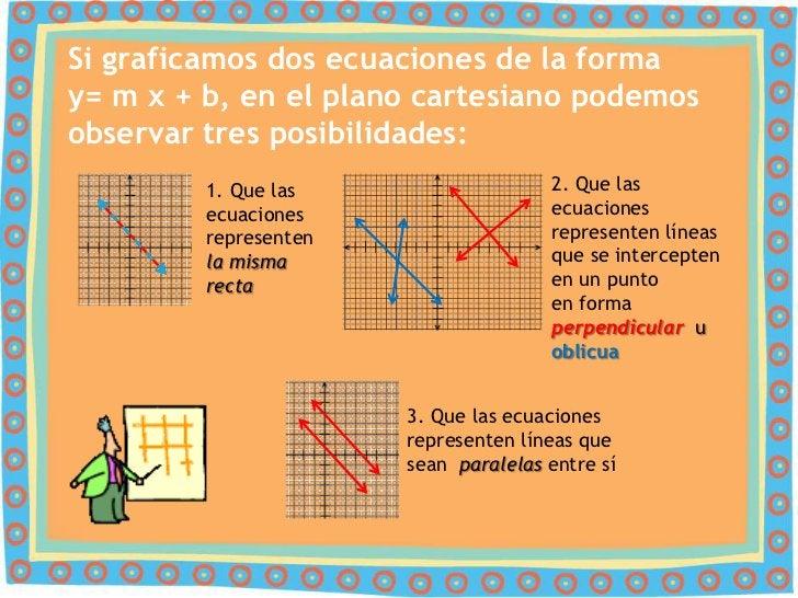Si graficamos dos ecuaciones de la formay= m x + b, en el plano cartesiano podemosobservar tres posibilidades:         1. ...