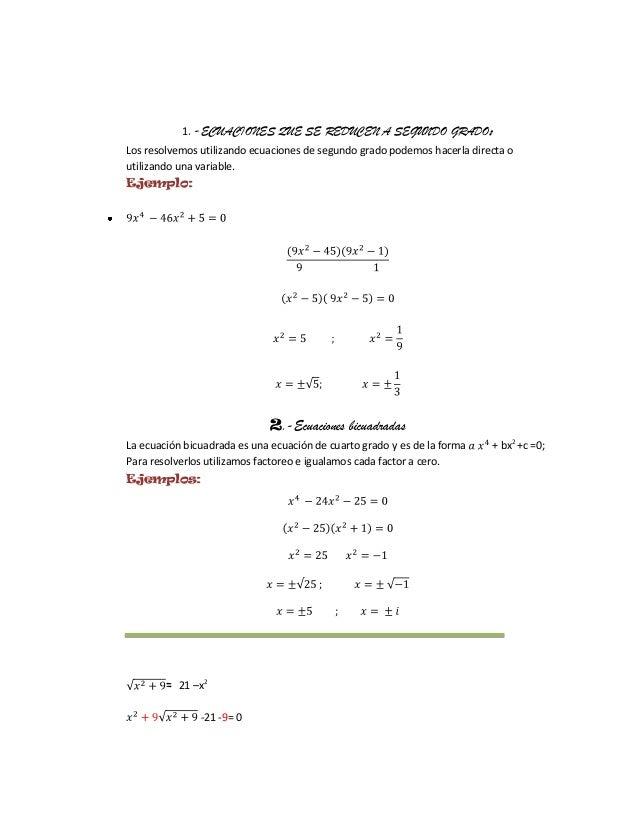 Ecuaciones de primer grado con radicales for Ecuaciones de cuarto grado