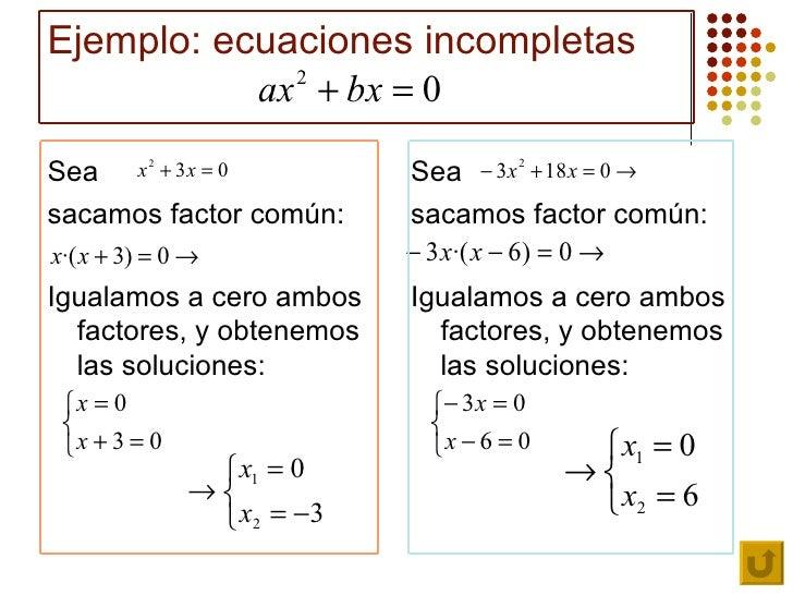 Resultado de imagen de imagenes ecuaciones de 2o grado incompletas