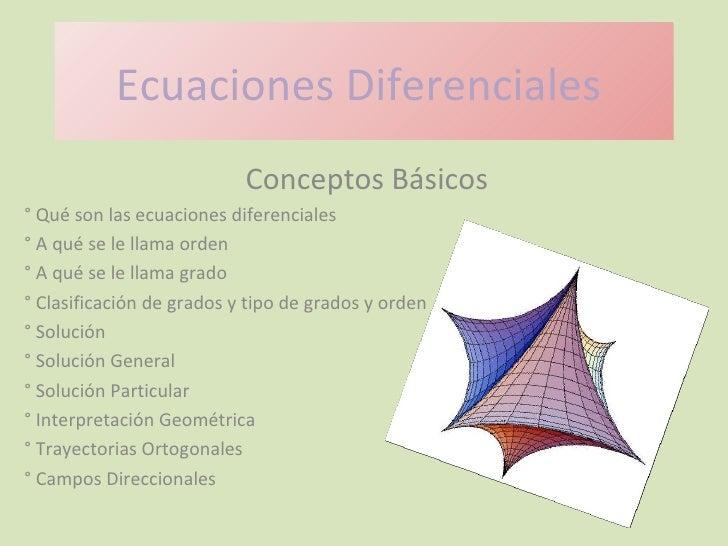 Ecuaciones Diferenciales  Conceptos Básicos ° Qué son las ecuaciones diferenciales ° A qué se le llama orden ° A qué se le...