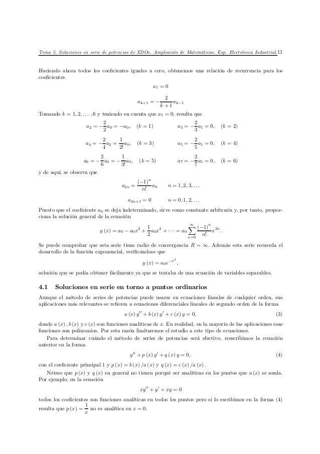 Tema 5. Soluciones en serie de potencias de EDOs. Ampliación de Matemáticas. Esp. Electrónica Industrial. 11Haciendo ahora...