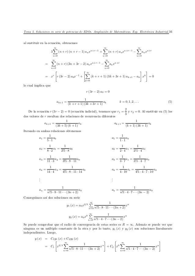 Tema 5. Soluciones en serie de potencias de EDOs. Ampliación de Matemáticas. Esp. Electrónica Industrial. 16al sustituir e...