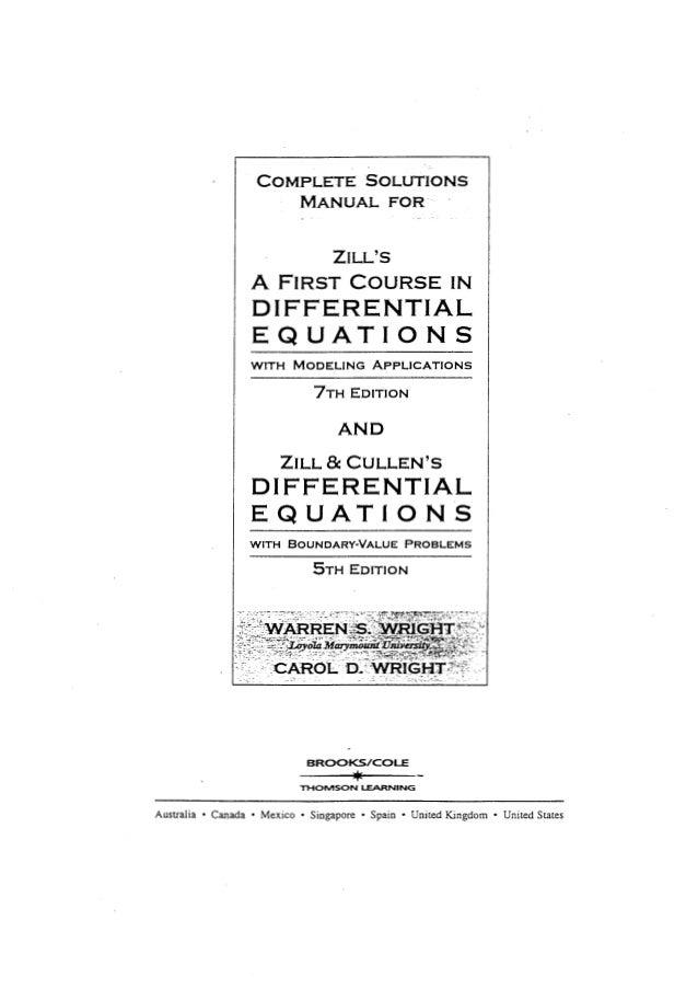 Ecuaciones diferenciales.[dennis g. zill].[7 ed].solucionario