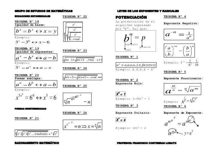ECUACIONES EXPONENCIALES<br />TEOREMA Nº 18<br />Igualdad de bases:<br />Ejemplo: <br />TEOREMA Nº 19<br />Igualdad de exp...