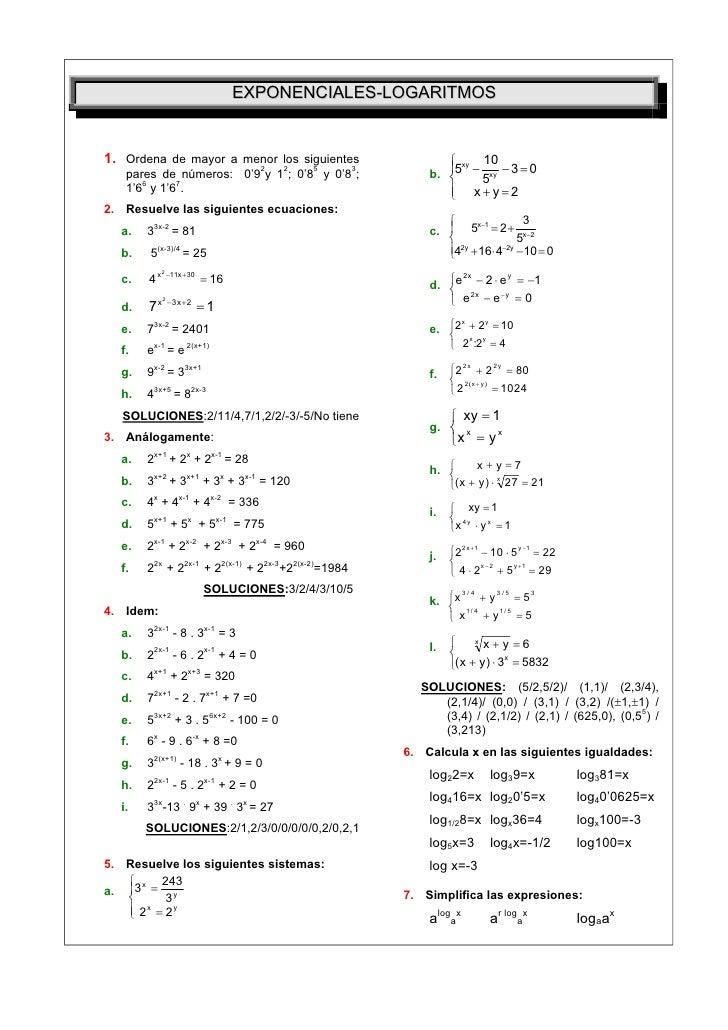 EXPONENCIALES-LOGARITMOS1. Ordena de mayor a menor los siguientes                                                    10  ...