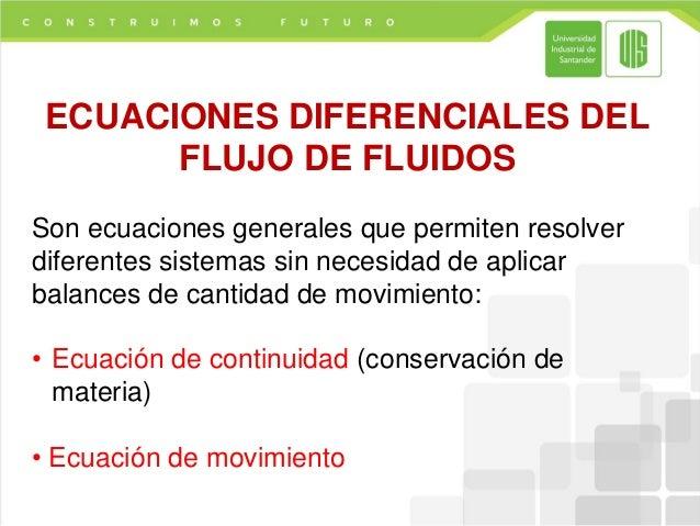 ECUACIONES DIFERENCIALES DEL       FLUJO DE FLUIDOSSon ecuaciones generales que permiten resolverdiferentes sistemas sin n...