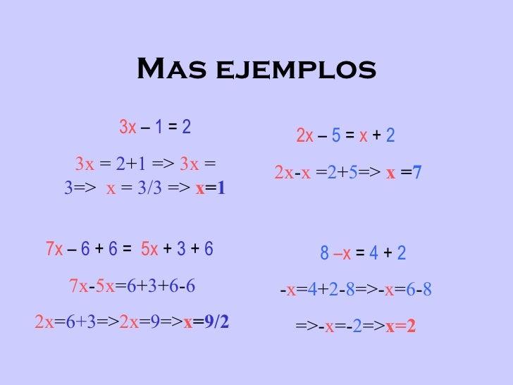 ecuaciones 1 grado