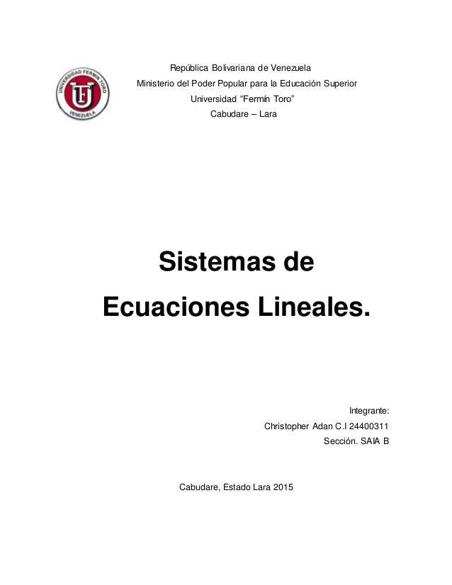 """República Bolivariana de Venezuela Ministerio del Poder Popular para la Educación Superior Universidad """"Fermín Toro"""" Cabud..."""