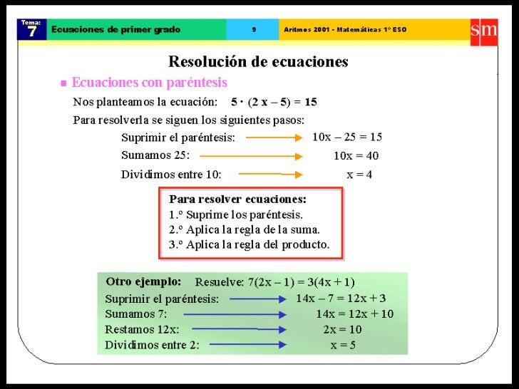 Ecuaciones Primer Grado 1 Eso