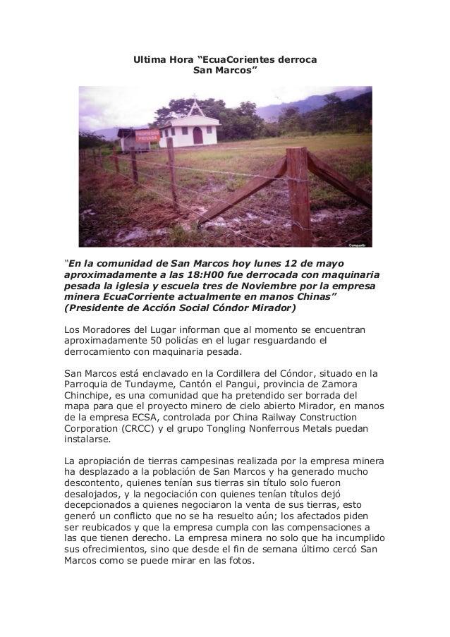 """Ultima Hora """"EcuaCorientes derroca San Marcos"""" """"En la comunidad de San Marcos hoy lunes 12 de mayo aproximadamente a las 1..."""