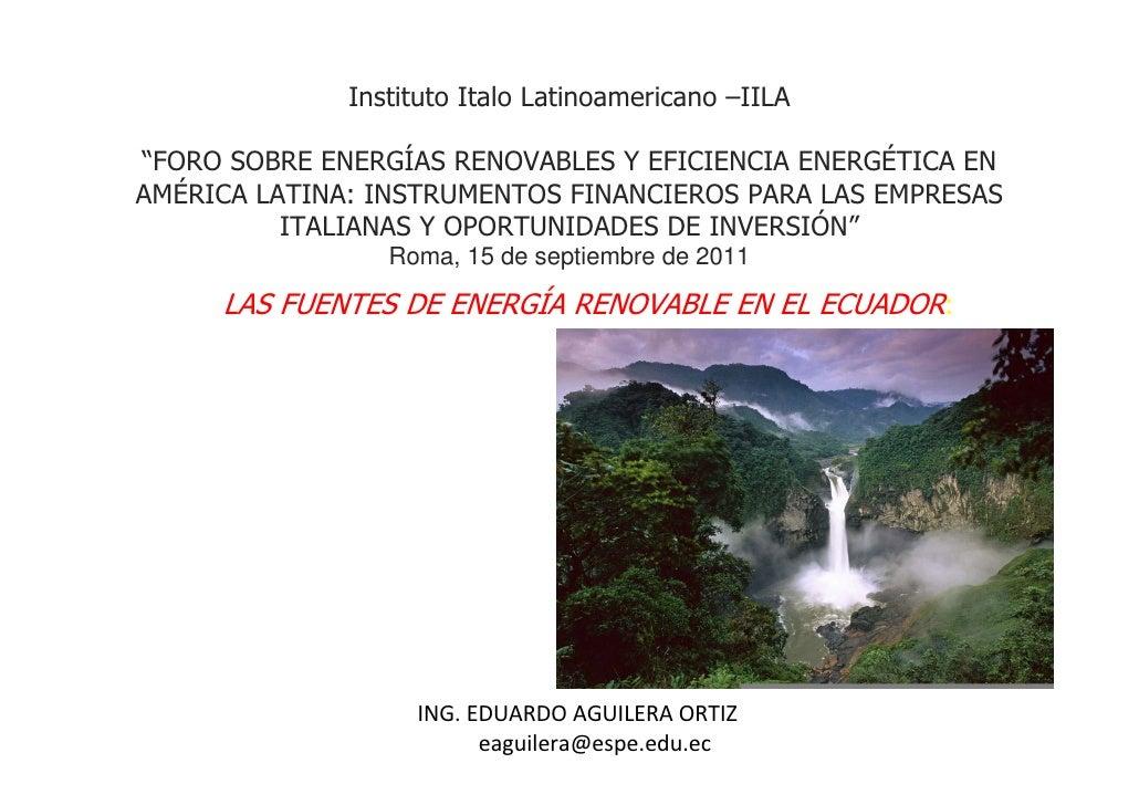 """Instituto Italo Latinoamericano –IILA""""FORO SOBRE ENERGÍAS RENOVABLES Y EFICIENCIA ENERGÉTICA ENAMÉRICA LATINA: INSTRUMENTO..."""