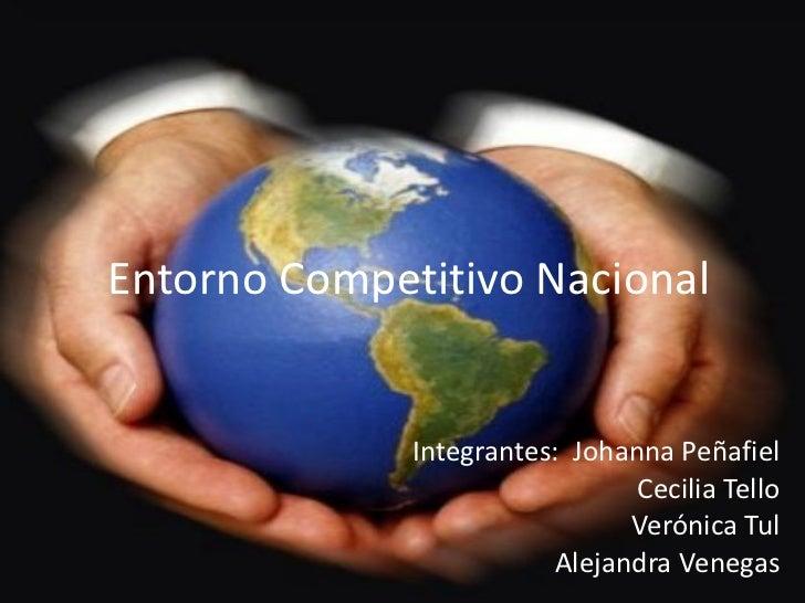 Entorno Competitivo Nacional Integrantes:  Johanna Peñafiel Cecilia Tello Verónica Tul Alejandra Venegas