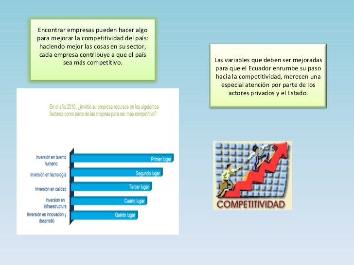 Las variables que deben ser mejoradas para que el Ecuador enrumbe su paso hacia la competitividad, merecen una especial at...