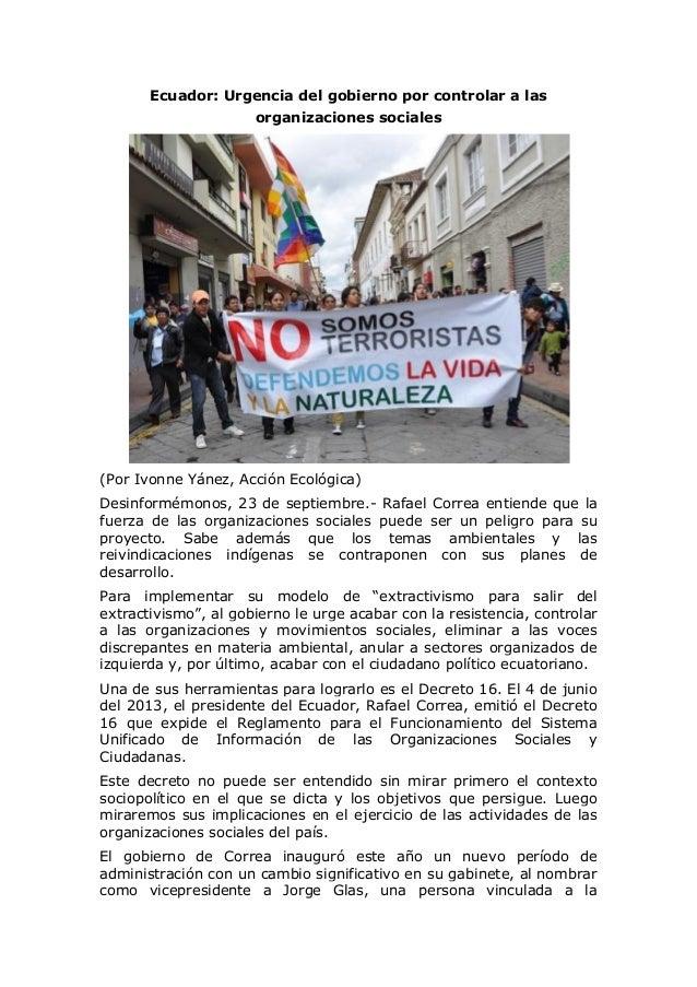 Ecuador: Urgencia del gobierno por controlar a las organizaciones sociales (Por Ivonne Yánez, Acción Ecológica) Desinformé...