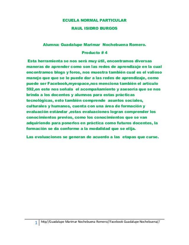 ECUELA NORMAL PARTICULAR RAUL ISIDRO BURGOS  Alumna: Guadalupe Marimar Nochebuena Romero. Producto # 4 Esta herramienta se...