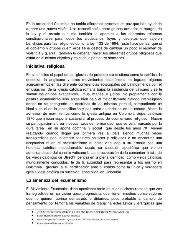 Ecuménico en colombia. por el sacerdote viejo catolico cesar augusto calderon caicedo Slide 2