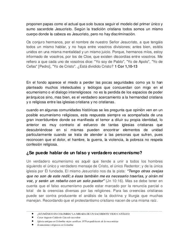 Ecuménico en colombia. por el sacerdote viejo catolico cesar augusto calderon caicedo Slide 3