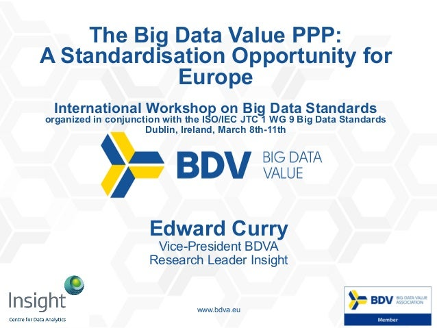 07/03/16 1www.bdva.eu The Big Data Value PPP: A Standardisation Opportunity for Europe International Workshop on Big Data ...