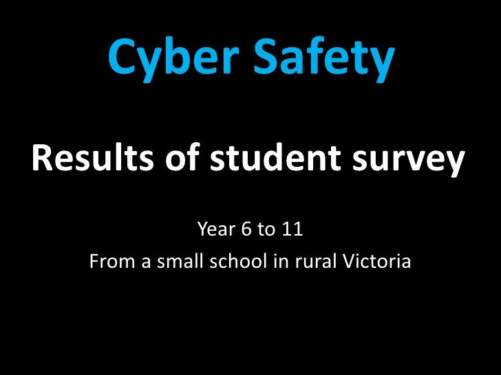 Results of student survey<br />Year 6 to 11<br />From a small school in rural Victoria<br />Cyber Safety<br />