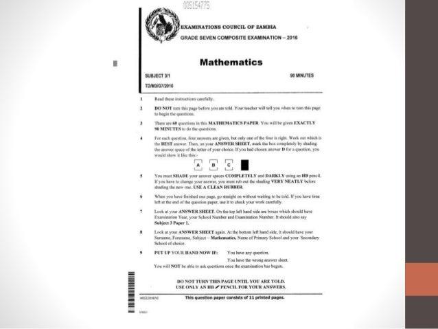 ECZ Grade 7 Maths 2016 Past Paper