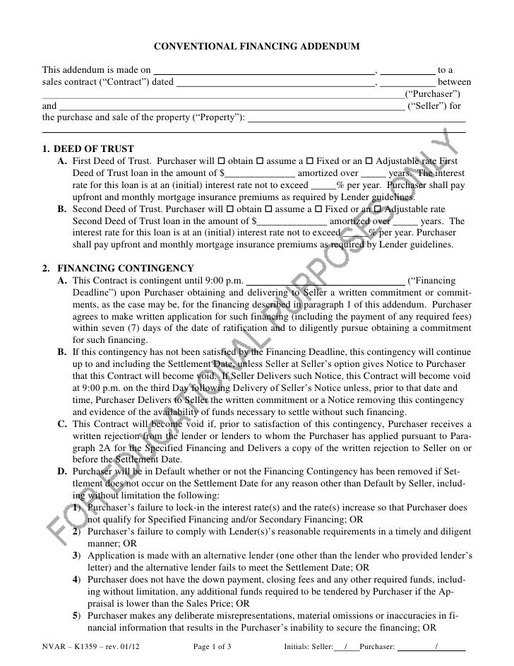 CONVENTIONAL FINANCING ADDENDUMThis addendum is made on                                                                  ,...