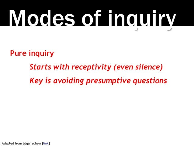 Modes of inquiry Pure inquiry Starts with receptivity (even silence) Key is avoiding presumptive questions Adapted from Ed...