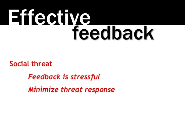 Effective Social threat Feedback is stressful Minimize threat response feedback