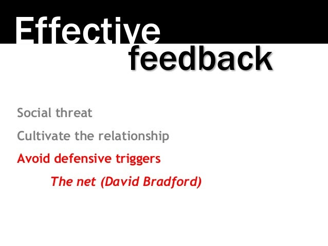 Effective Social threat Cultivate the relationship Avoid defensive triggers The net (David Bradford) feedback