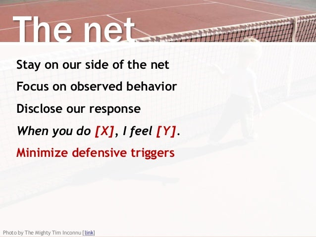 The net Stay on our side of the net Focus on observed behavior Disclose our response When you do [X], I feel [Y]. Minimize...