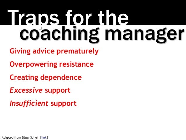 Traps for the coaching manager Giving advice prematurely Overpowering resistance Creating dependence Excessive support Ins...